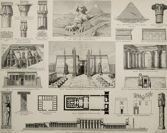 1894 Antique print of ANCIENT EGYPT ARCHITECTURE. Egyptian Art. Culture. 122 years old engraving.
