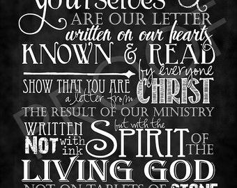 Scripture Art - 2 Corinthians 3:2-3 Chalkboard Style