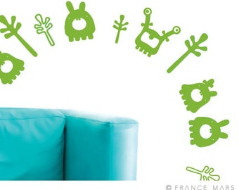 Wall Decals for Baby Nursery & Kids Decor - Happy Monsters Collection - Green - Great Newborn Gift