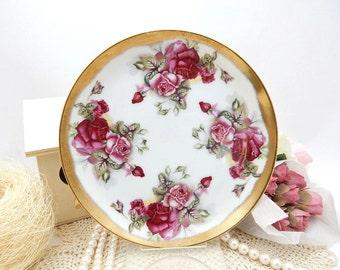 Vintage Porcelain Plate Red Roses