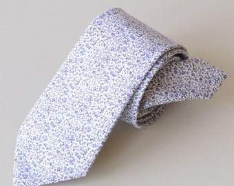 Liberty print tie hand-stitched from Newland blue - blue tie - blue floral tie - floral wedding tie - Liberty tie