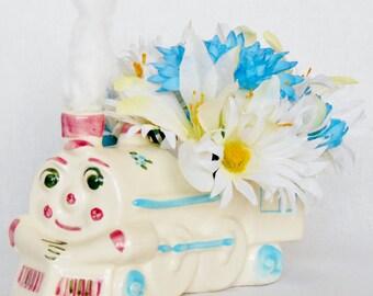 New Baby Boy Flowers, White Daisies, Turquoise Chrysanthemums & White Jasmine, Train Vase, Artificial Flower Arrangement, Silk Floral,
