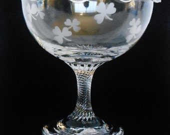 Vintage Eamon Glass Shamrock Hand Etched Fluted Pedestal Compote Made in Ireland, Vintage Eamon Glass Compote, Compote Made in Ireland,