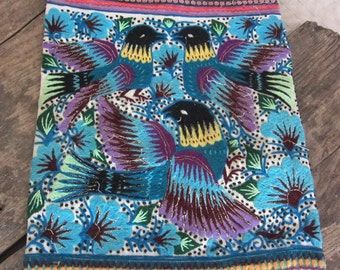 Hmong Vintage Fabric Tribal Fabric Vintage Wallhanging Hmong Fabric A31 Hand embroidered fabric Hill tribe Hmong textile bead detail
