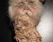 Hand painted muslin santa ornament, Holidays, Christmas, glitter muslin beard.