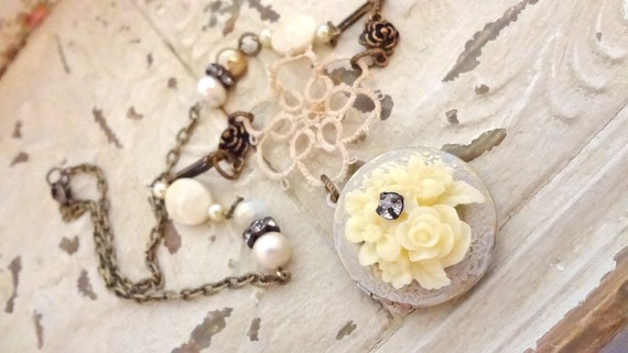 Shabby Chic Roses Locket, Shades of Cream Assemblage Locket Necklace,  Eco Friendly, Romantic Cowgirl, Downton Abbey, Bertha Louise Designs