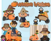 Happy Fall Scarecrows Clip art  Clipart Graphics  Commercial Use