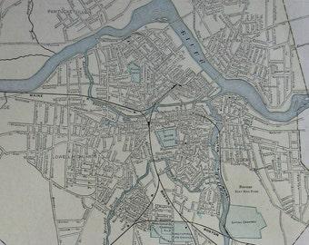 Antique LOWELLMassachusetts Map or LYNN Massachusetts Map 1900 Vintage Map Gallery Wall Art  Plaindealing 5449