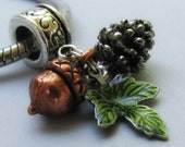 Autumn Pendant With Copper Acorn, Silver Pine Cone And Green Leaf Charms For Large Hole Bracelet And Necklace Chains