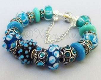 Authentic Pandora Bracelet With European Style Turquoise Artisan Murano Lampwork Glass Beads And Rhinestone Charms