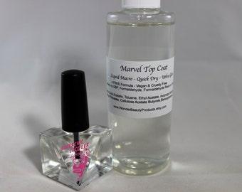 MARVEL Liquid Macro Top Coat Nail Polish - Quick Dry - Ultra Gloss - Non Yellowing - Chip Resistant Nail Varnish - 15ml Bottle or Refill