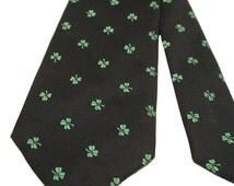 70s Shamrock Tie Lucky Clover Necktie Made in Ireland St Patty's Tie, free US shipping