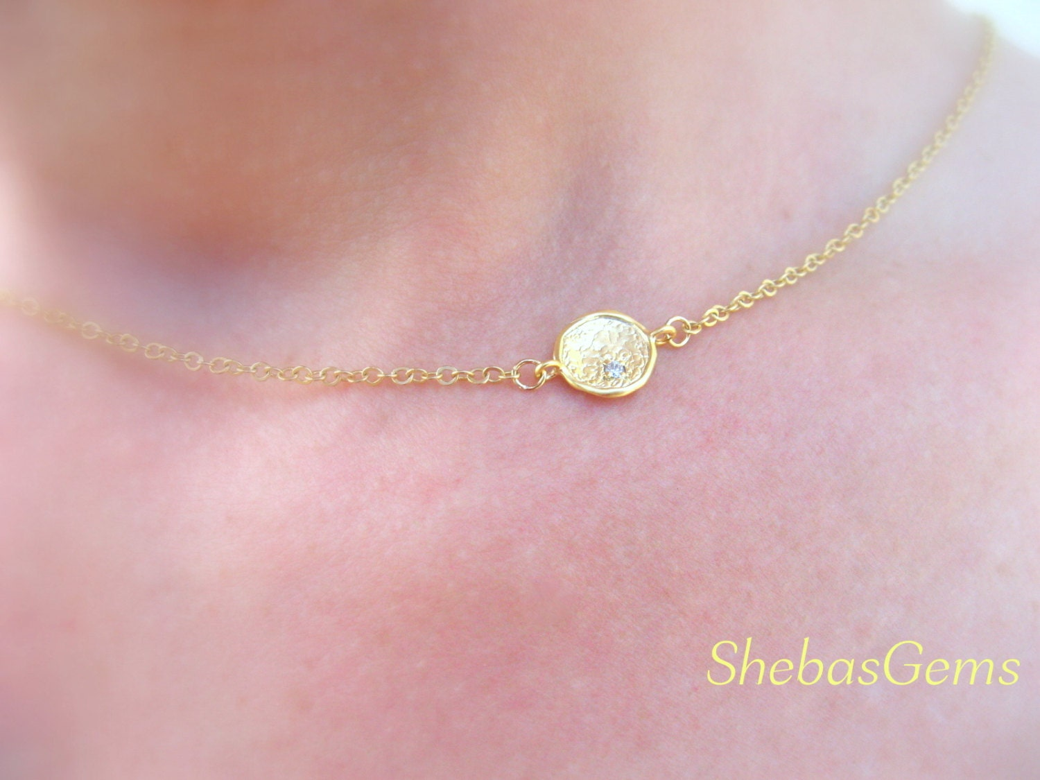 dainty gold necklace gold disc necklace dainty by shebasgems