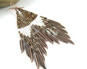 Native american beaded earrings, seed bead earrings, native american beadwork, boho earrings - Skenandoa I - brown and white