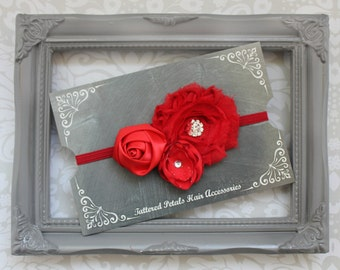 Red Trio Adjustabe Elastic Headband With Small Satin Flower