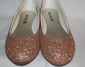 Champagne Glitter Bridal Shoes - Wedding Flats