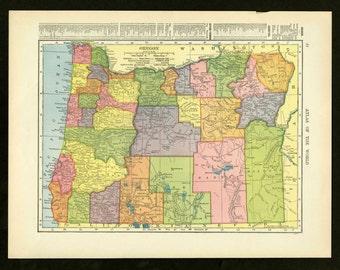Vintage Map Oregon From 1905 Original