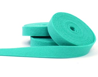Wool Felt - 100 Percent Wool Felt Ribbon in color AQUAMARINE- 1/2 Inch X 2 Yards - Merino Wool Felt - Green RIbbon - Aquamarine Ribbon