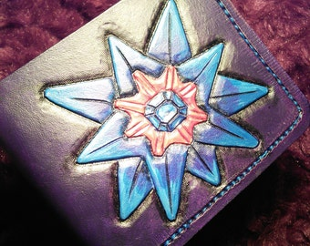 pokemon of your choice, personalised Pokemon carved and painted leather wallet, eg Starmie