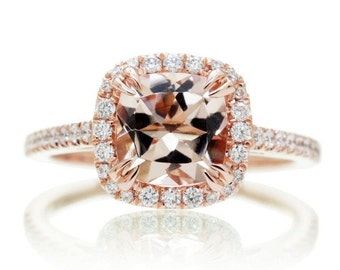 14 Karat Cushion Cut Morganite Diamond Halo Solitaire Engagement Stackable Anniversary Ring