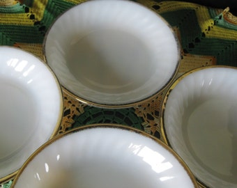 Fire King Gold Anniversary Swirl Coupe Soup Salad bowls  Very good Set of 4. TWO sets available