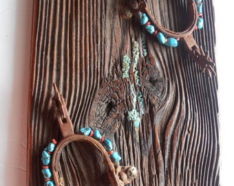 Vintage Cowboy Spur and turquoise western wall hanging