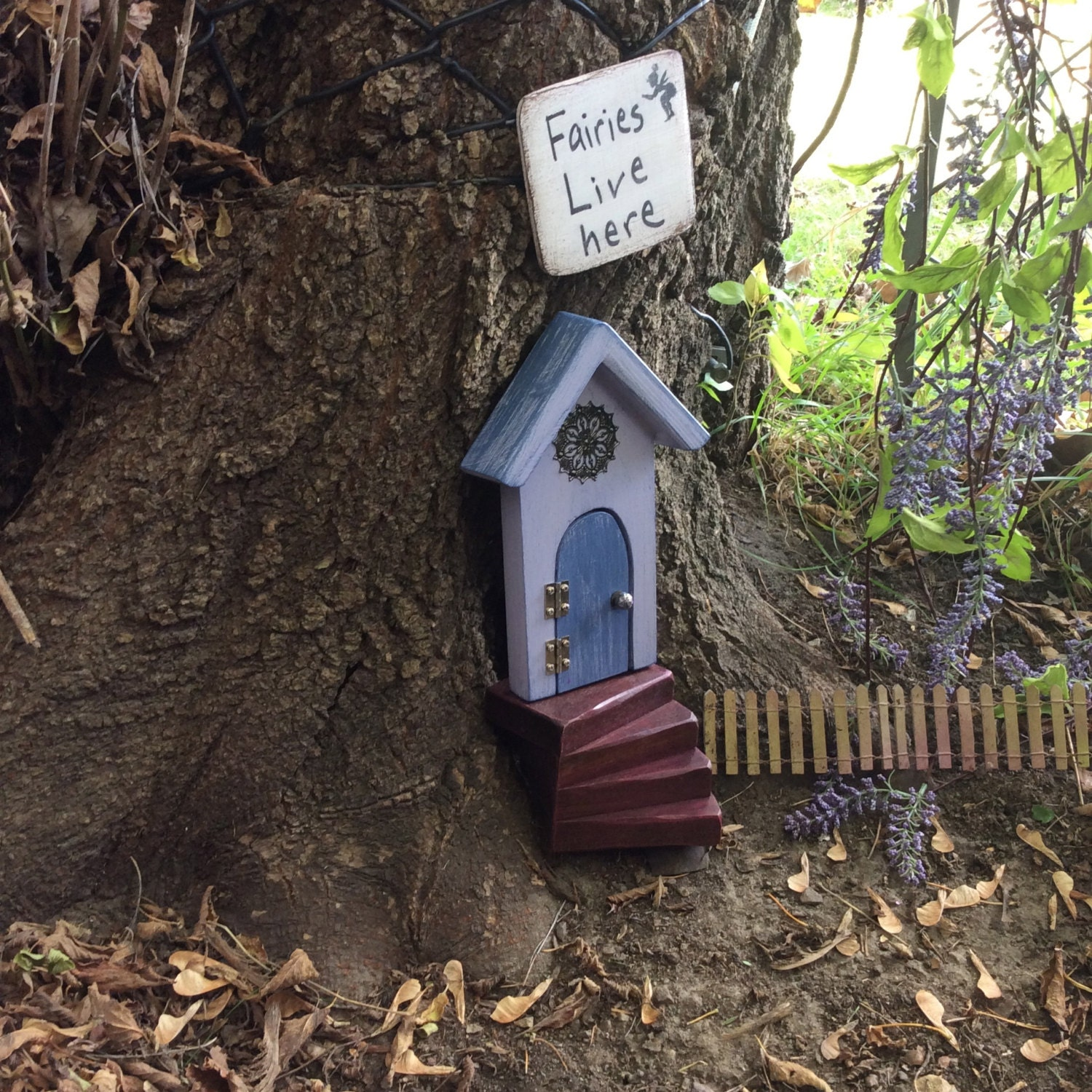 Fairy door blue purple fairy house fairy doors that open for Fairy house doors