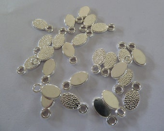 10 x Silver plated oval earring bails