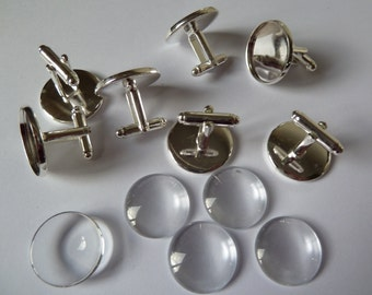 10 x Round 20mm Silver plated cufflinks AND matching glass domes