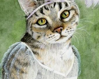 "Jane Austen heroine art print of my original mixed media painting ""Mary Crawford"""
