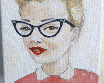 Roxy, an original painting of a vintage 1950's woman wearing cat eye glasses.