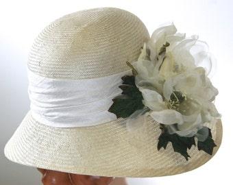 Off White Kentucky Derby Hat Ivory Straw Cloche Medium Brim Womens Hat