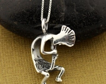 Sterling Silver Kokopelli necklace Symbol of Fertility, Native American pendent (N-30)