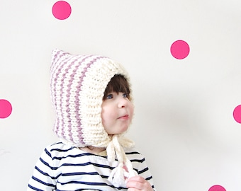 knitted striped pixie hat, baby or kid, wool and acrylic yarn, choose your colors