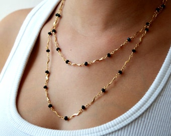 Gold chain necklace, long necklace, delicate necklace, swarovski necklace, black necklace,double necklace, gold and black, black chain