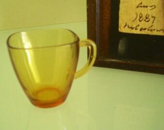 Vereco Glass Amber Espresso Cup Demitasse Square 1960s Rustic Glass French Tea Cup