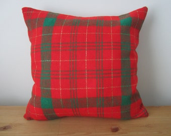 Red Plaid Pillow, Christmas Pillow Cover, 16x16 Red and Green Holiday Pillow