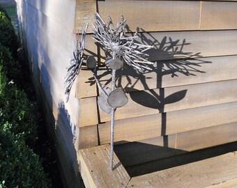 Flower Metal Sculpture Spoon Flower Yard Art Garden Art Found Objects Metal Flower Stake FOREVER FLOWER