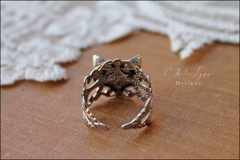 fox ring fox jewelry filigree ring by nathalielynndesigns