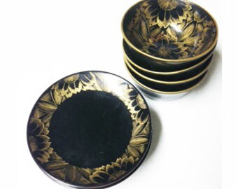 Retro Japanese Black Lacquer Wood Rice Bowls and Plates Gold Painted Peonies Flowers, Japan