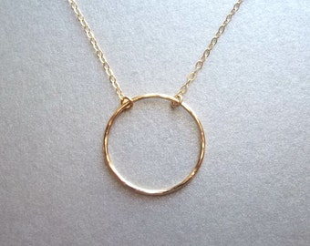 Gold Circle necklace • Karma ring necklace • Circle necklace • Eternity • Dainty circle necklace • 20mm circle pendant