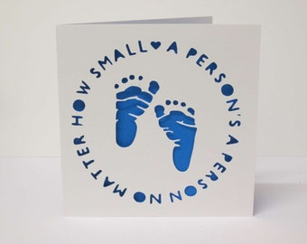A Person's A Person No Matter How Small / Dr Seuss / Baby Footprints / New Baby papercut card