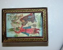 Miniature Persian Box Vintage Hand Painted Mideastern Souvenir Miniature Box with Lovely Inlay Persian Scene