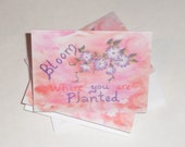 Bloom Where you are planted blank note cards; 5 pack of blank cards; Inspirational note cards; Purple Daisy Flower stationary