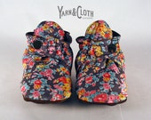 Liberty of London Handmade Baby Booties with Leather Soles, Elastic & Snaps