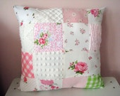 new VINTAGE rachel ashwell rosebud roses pink & green patchwork PILLOW chenille chic cottage CHIC handmade
