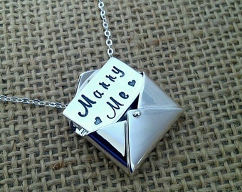 Hand Stamped Marry Me Necklace - Unique Proposal Necklace - Hidden Envelope Message - Pop The Question - Wedding Proposal - Engagement Idea