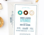Donuts and Diaper Baby Shower or Baby Sprinkle Invitations - Printed Invitations or Digital Files