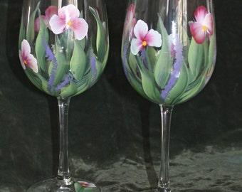 Set of 2 Hand Painted Wine Glasses - Wild Flowers