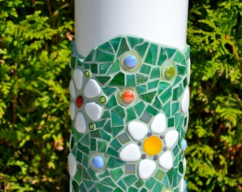 Mosaic vase green glass flowers tall white ceramic